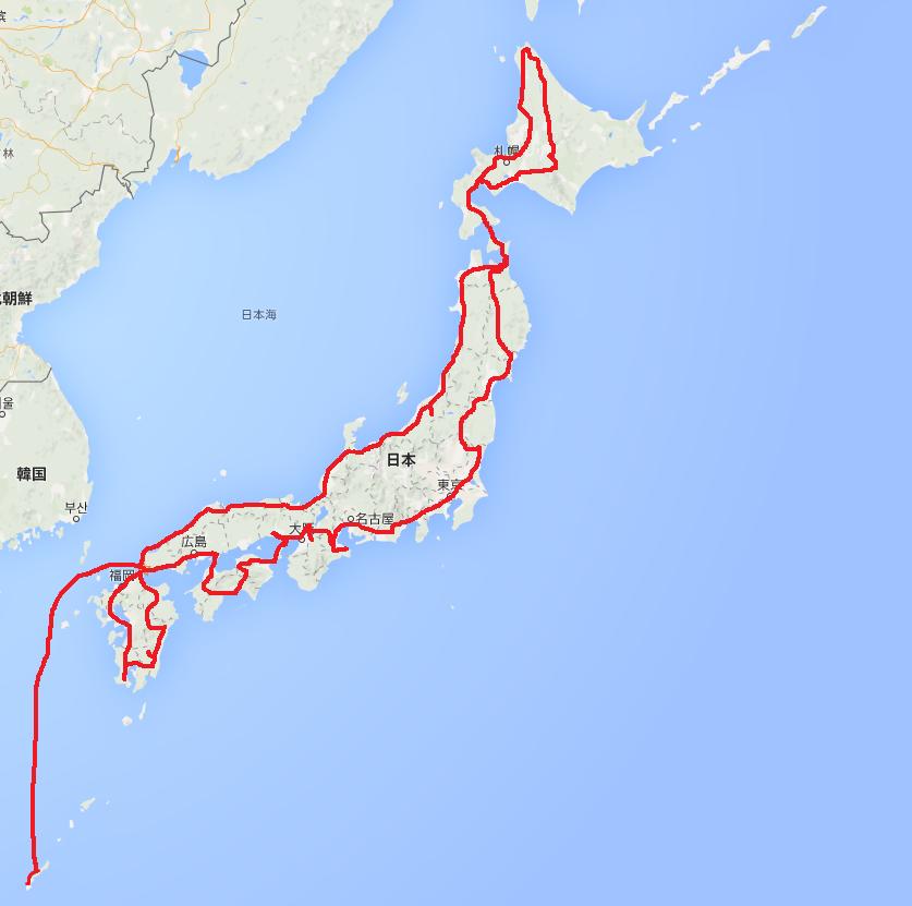 車で日本一周した走行ルート